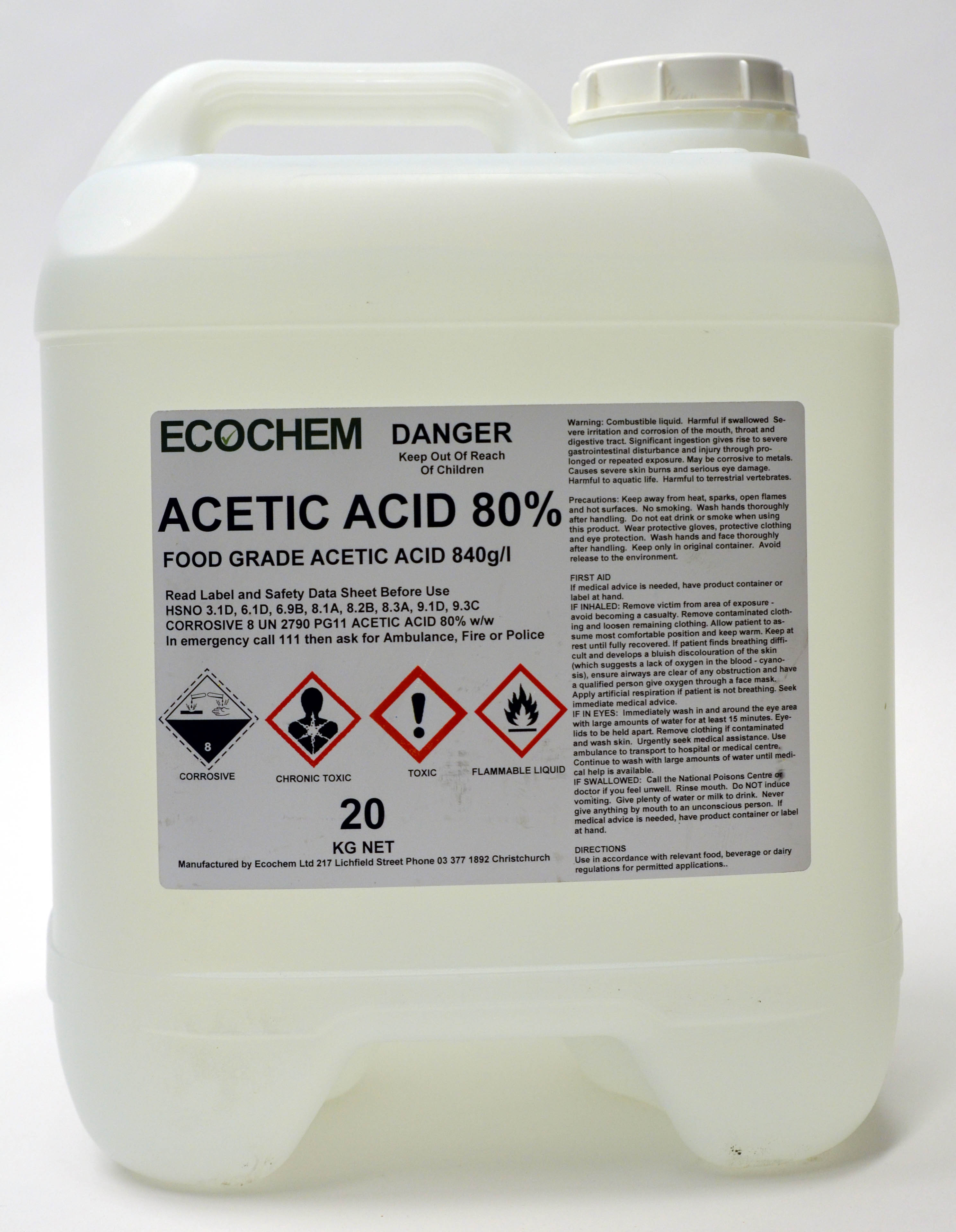 Acetic Acid 80 Food Grade Ecochem Cleaning Products