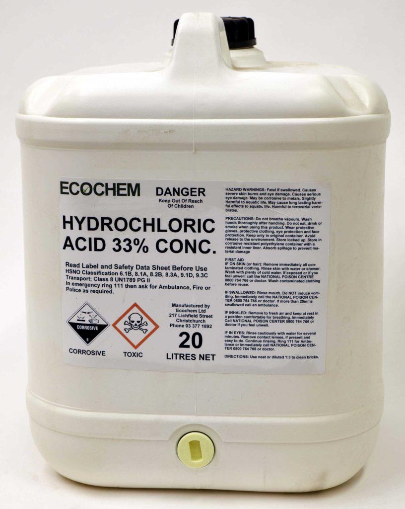 Hydrochloric Acid Concentrated 33 W W Ecochem Limited